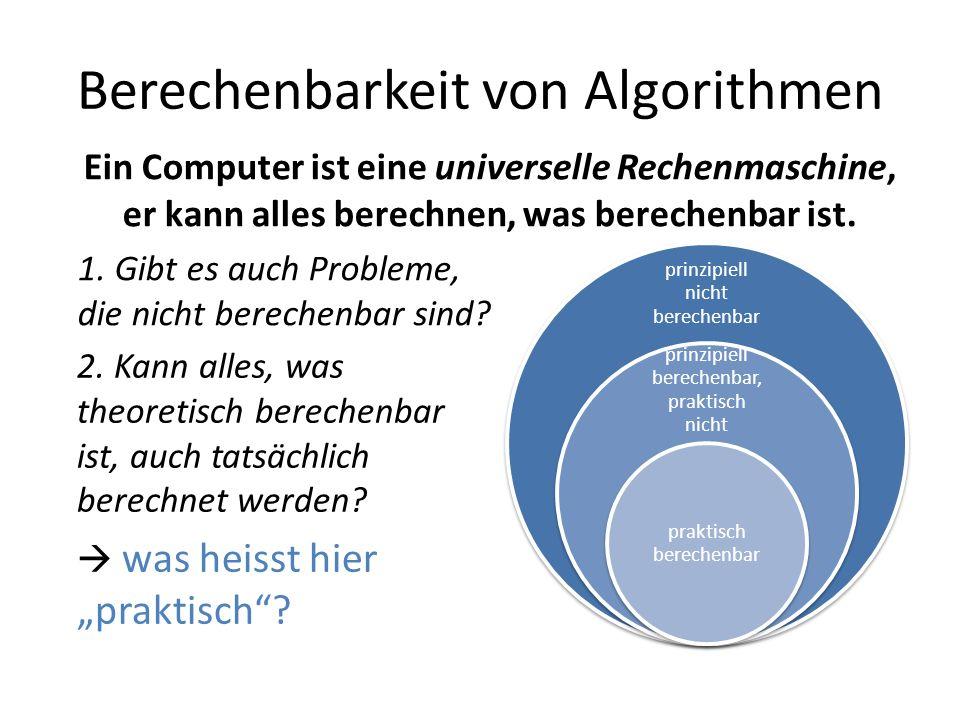Berechenbarkeit von Algorithmen prinzipiell nicht berechenbar prinzipiell berechenbar, praktisch nicht praktisch berechenbar 2.