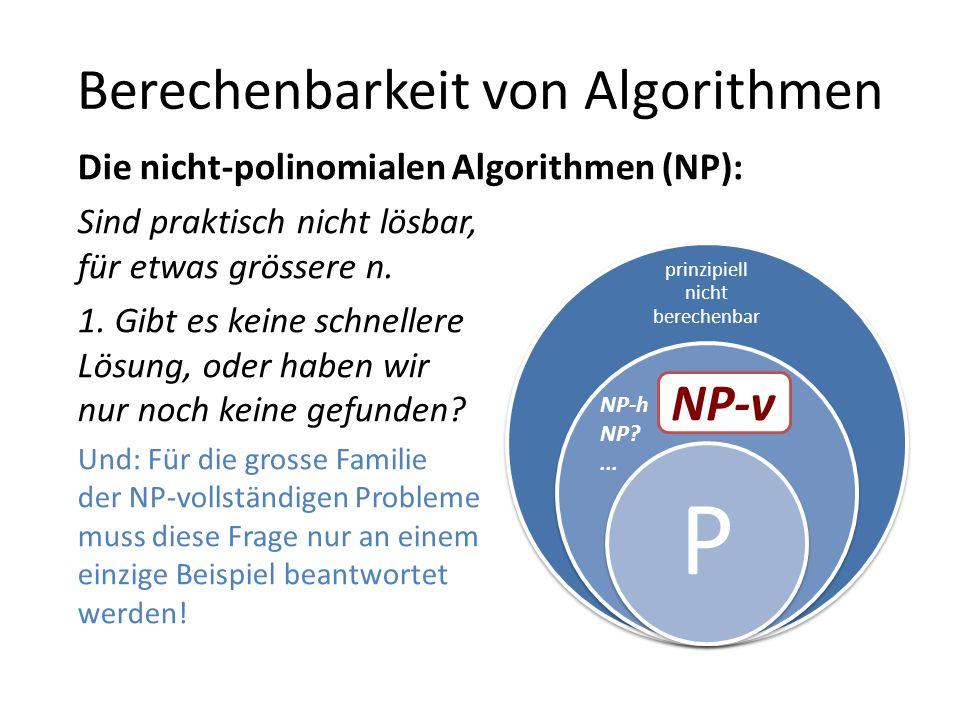 Berechenbarkeit von Algorithmen prinzipiell nicht berechenbar P Die nicht-polinomialen Algorithmen (NP): Sind praktisch nicht lösbar, für etwas grössere n.