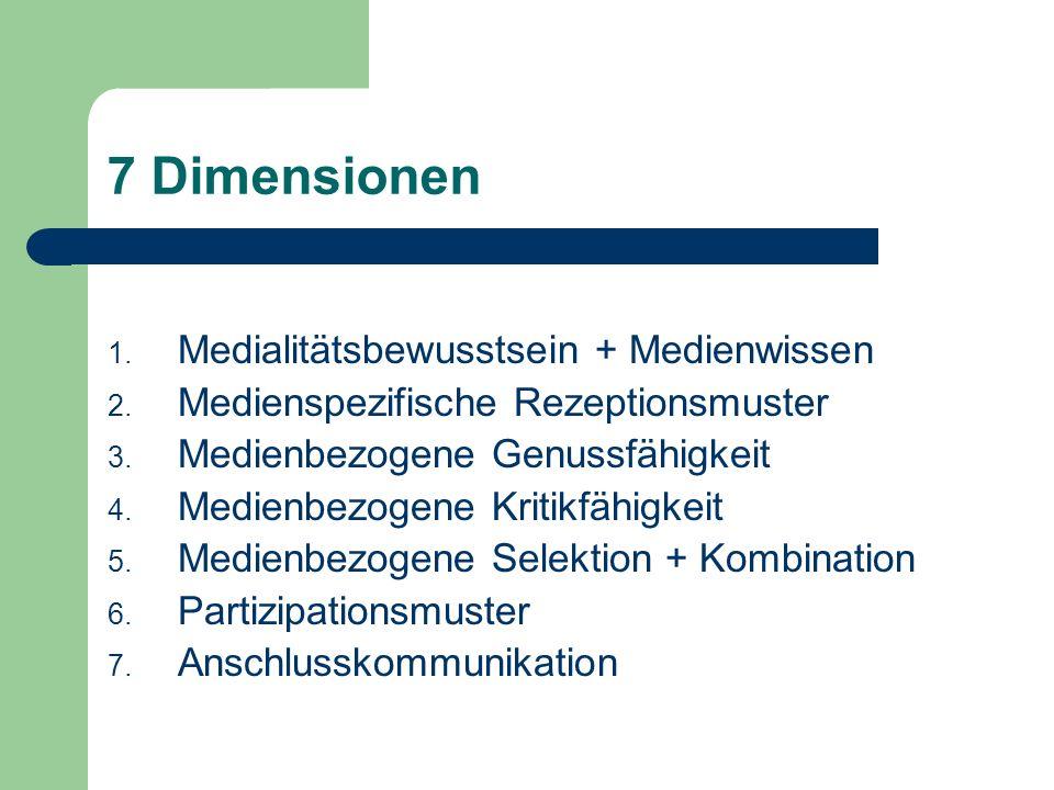 7 Dimensionen 1. Medialitätsbewusstsein + Medienwissen 2. Medienspezifische Rezeptionsmuster 3. Medienbezogene Genussfähigkeit 4. Medienbezogene Kriti