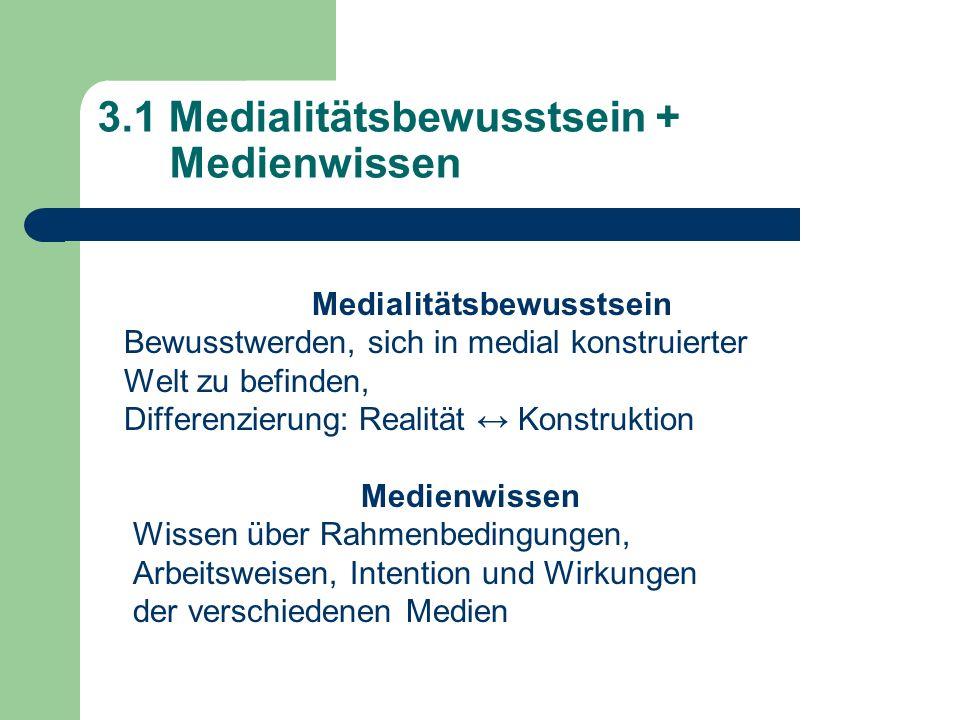 3.1 Medialitätsbewusstsein + Medienwissen Medialitätsbewusstsein Bewusstwerden, sich in medial konstruierter Welt zu befinden, Differenzierung: Realit