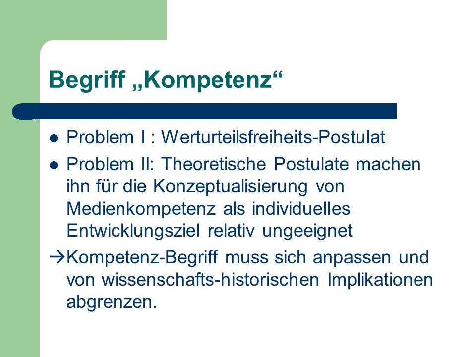 Begriff Kompetenz Problem I : Werturteilsfreiheits-Postulat Problem II: Theoretische Postulate machen ihn für die Konzeptualisierung von Medienkompete