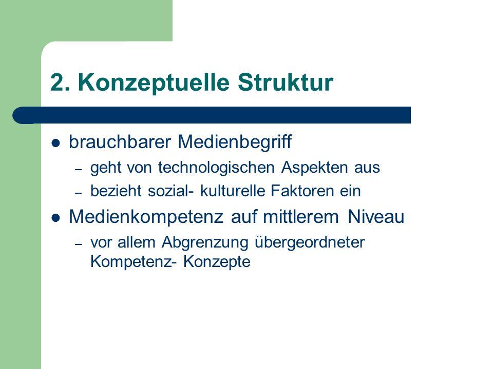 2. Konzeptuelle Struktur brauchbarer Medienbegriff – geht von technologischen Aspekten aus – bezieht sozial- kulturelle Faktoren ein Medienkompetenz a