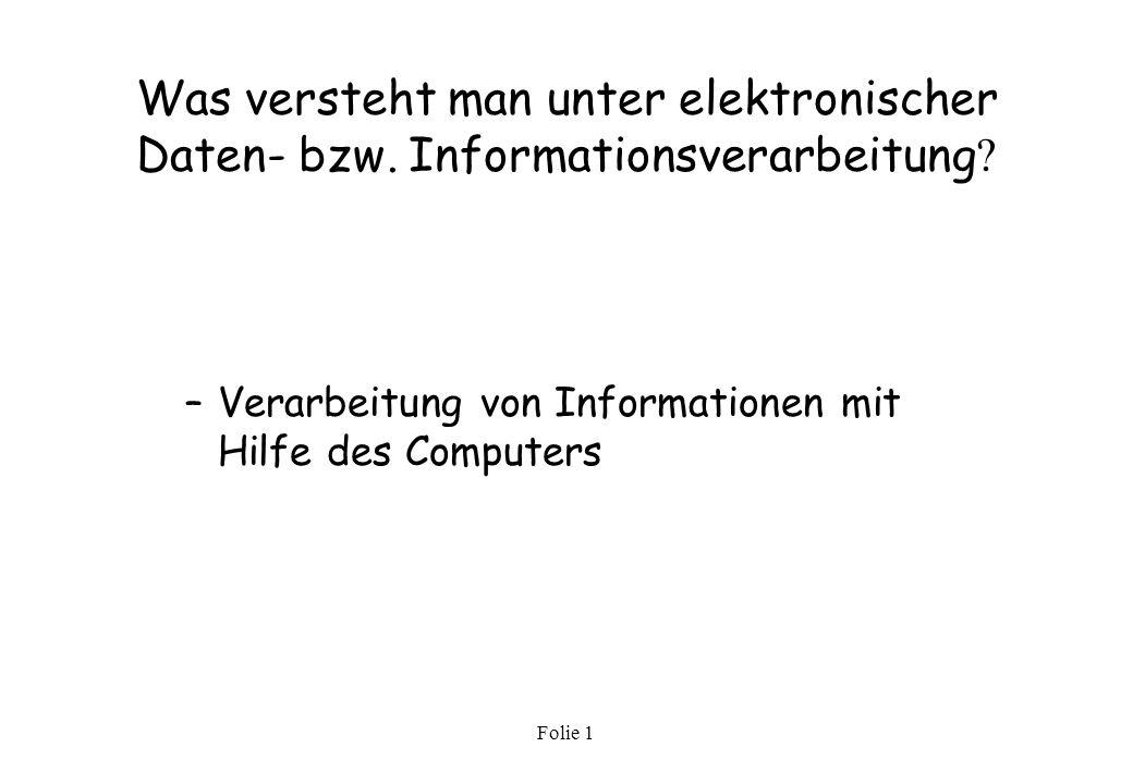 Folie 1 Das Motherboard Auf dem Motherboard, manchmal auch Mainboard oder Hauptplatine genannt, befinden sich alle zentralen Bestandteile des Computers, ohne die nach dem Anschalten wohl nichts außer des Netzteilsurrens stattfinden würde.