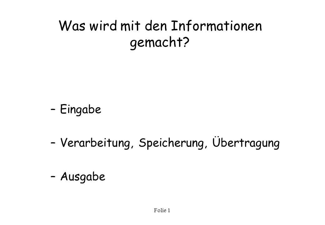 Folie 1 Welche Informationen werden verarbeitet? –Daten –Bilder –Texte –Sprache –Klänge