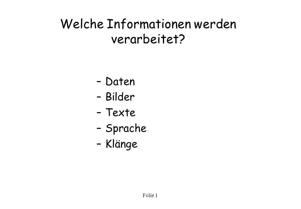 Folie 1 Grundlagen der Software Definition und Hauptaufgaben der Software Unter Software versteht man alle Programme, welche zur Steuerung aller Verarbeitungsprozesse im Rechner notwendig sind.