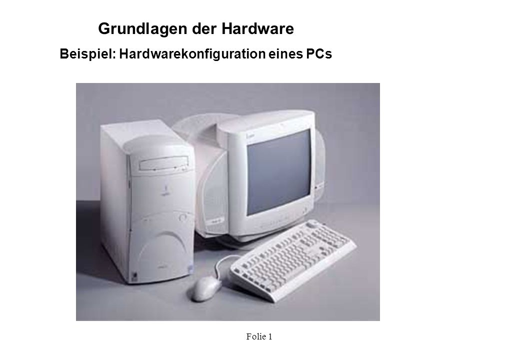 Folie 1 Grundlagen der Hardware Die Hardwarekomponenten eines PCs 400 MHz Diskette MO Festplatte Modem Tastatur Maus CD-ROM Scanner Bildschirm Drucker PC