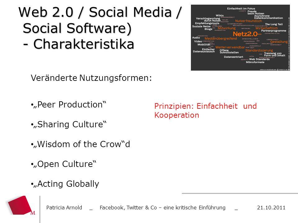 Web 2.0 / Social Media / Social Software) - Charakteristika Patricia Arnold _ Facebook, Twitter & Co – eine kritische Einführung _ 21.10.2011 Veränder