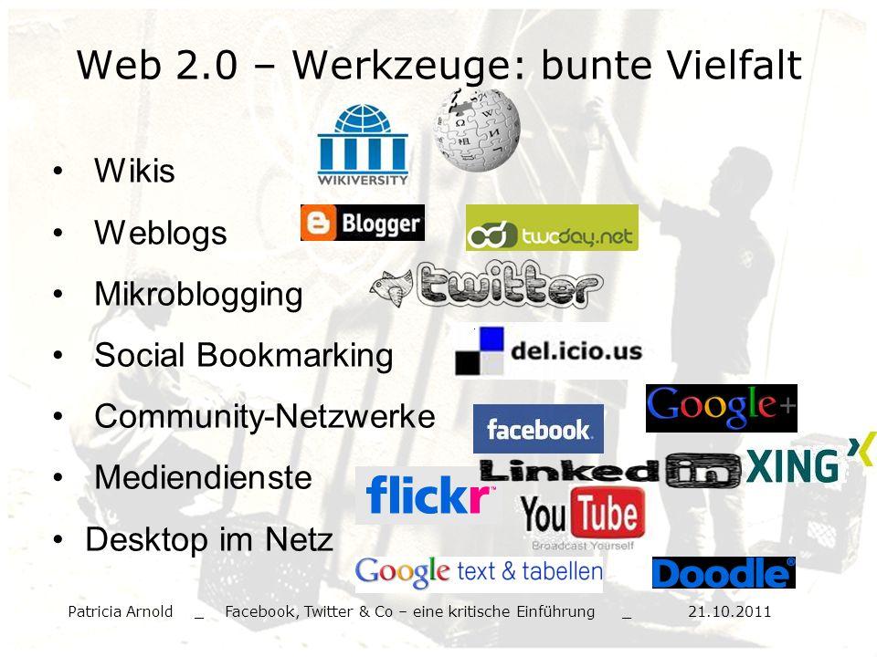 Web 2.0 – Werkzeuge: bunte Vielfalt Wikis Weblogs Mikroblogging Social Bookmarking Community-Netzwerke Mediendienste Desktop im Netz Patricia Arnold _