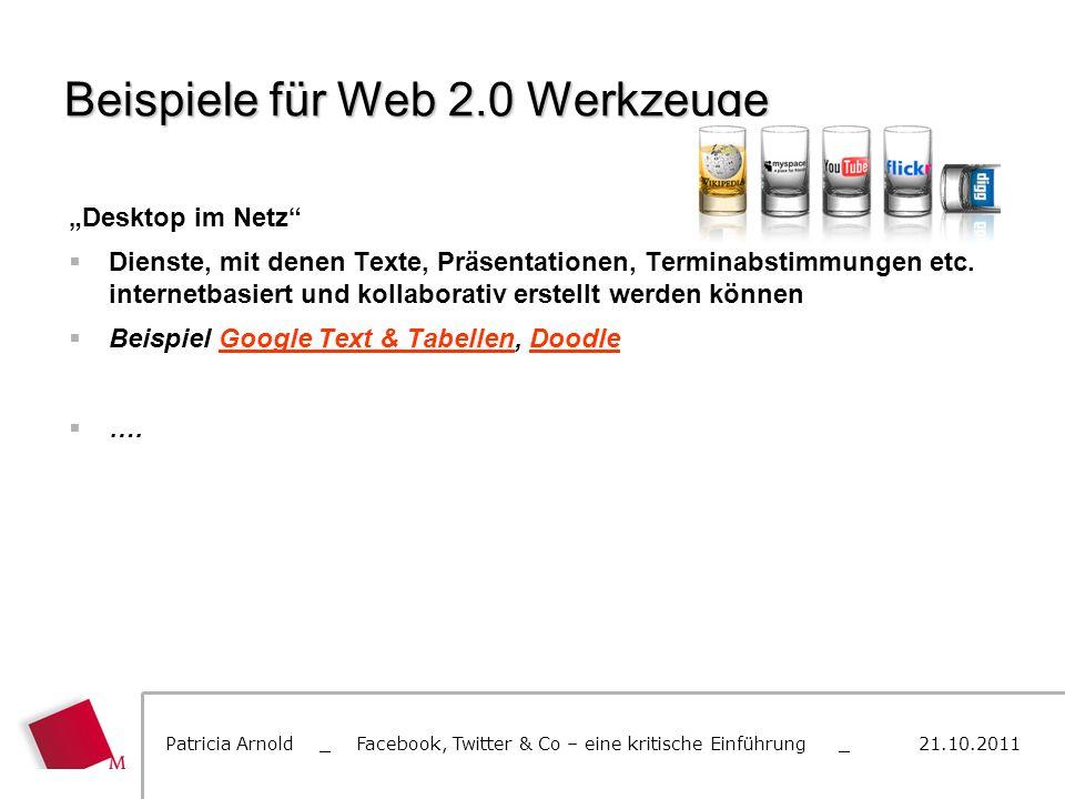 Beispiele für Web 2.0 Werkzeuge Desktop im Netz Dienste, mit denen Texte, Präsentationen, Terminabstimmungen etc. internetbasiert und kollaborativ ers