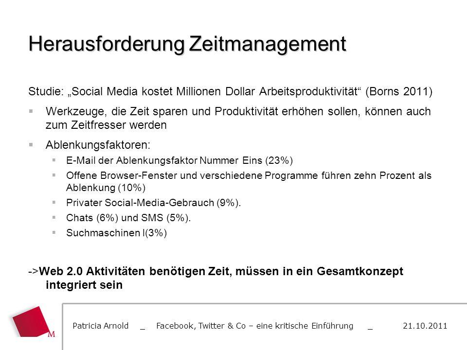 Herausforderung Zeitmanagement Studie: Social Media kostet Millionen Dollar Arbeitsproduktivität (Borns 2011) Werkzeuge, die Zeit sparen und Produktiv