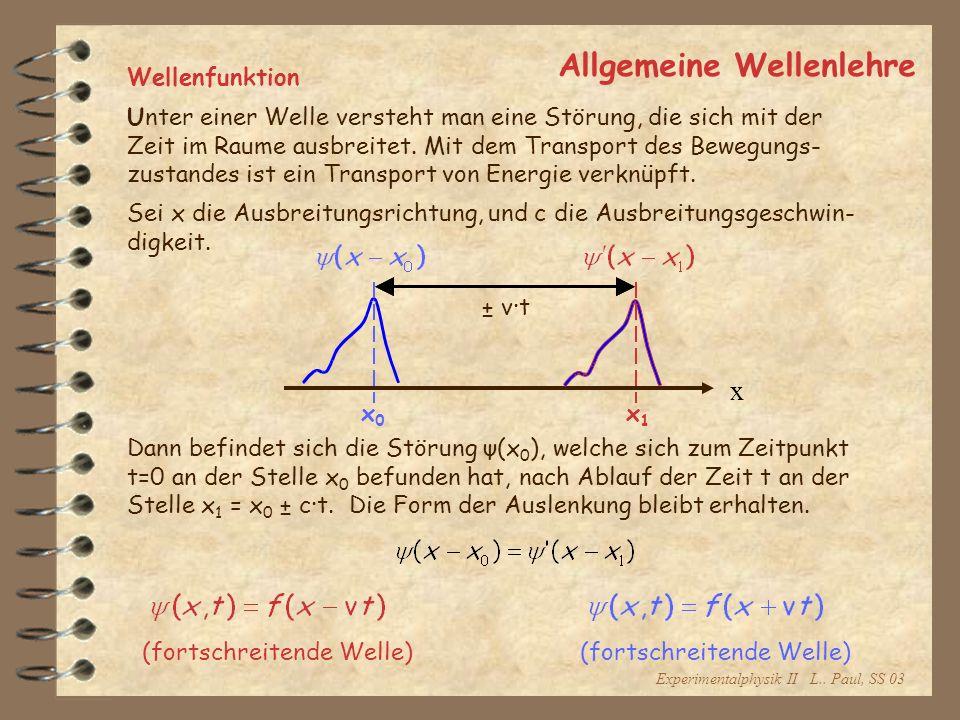 Experimentalphysik II L.. Paul, SS 03 Allgemeine Wellenlehre Wellenfunktion Unter einer Welle versteht man eine Störung, die sich mit der Zeit im Raum