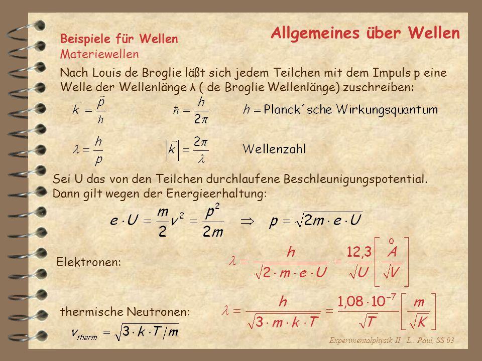 Experimentalphysik II L.. Paul, SS 03 Allgemeines über Wellen Beispiele für Wellen Materiewellen Nach Louis de Broglie läßt sich jedem Teilchen mit de