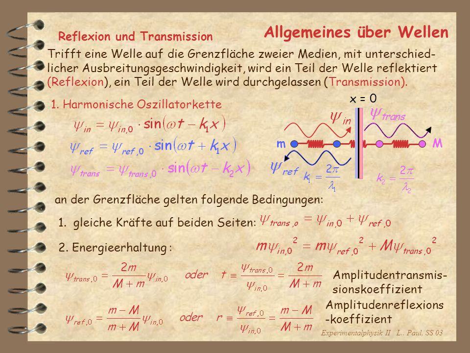 Experimentalphysik II L.. Paul, SS 03 Allgemeines über Wellen Reflexion und Transmission Trifft eine Welle auf die Grenzfläche zweier Medien, mit unte