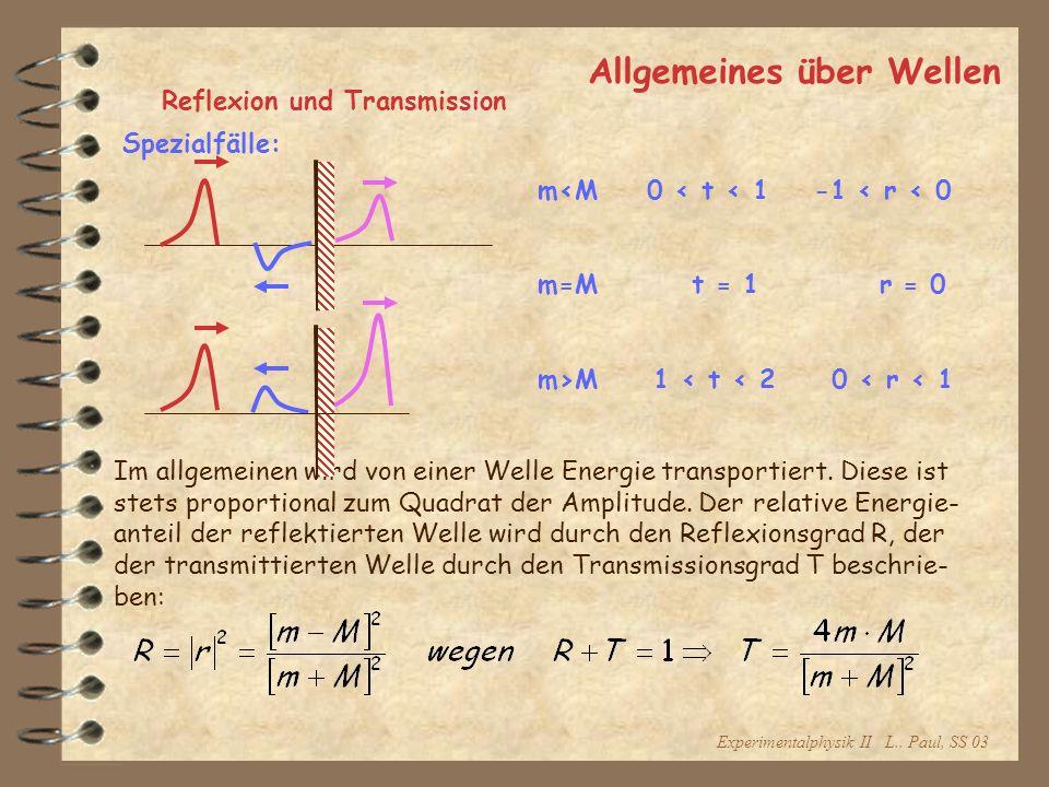 Experimentalphysik II L.. Paul, SS 03 Allgemeines über Wellen Reflexion und Transmission Im allgemeinen wird von einer Welle Energie transportiert. Di