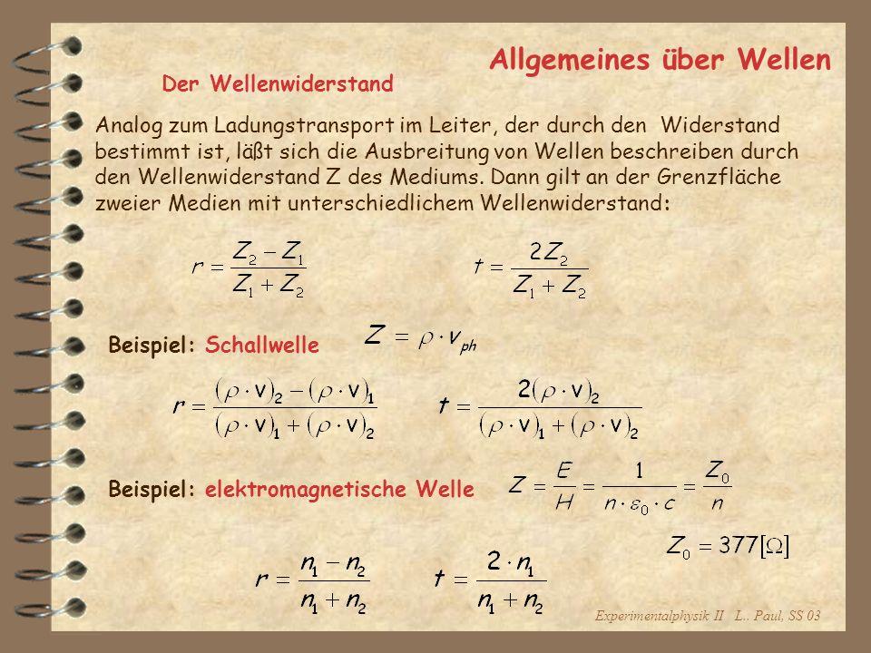 Experimentalphysik II L.. Paul, SS 03 Allgemeines über Wellen Der Wellenwiderstand Analog zum Ladungstransport im Leiter, der durch den Widerstand bes