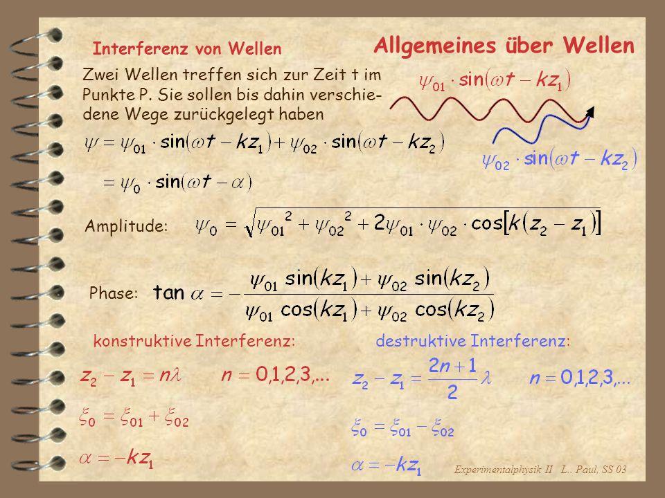 Experimentalphysik II L.. Paul, SS 03 Allgemeines über Wellen Interferenz von Wellen Zwei Wellen treffen sich zur Zeit t im Punkte P. Sie sollen bis d