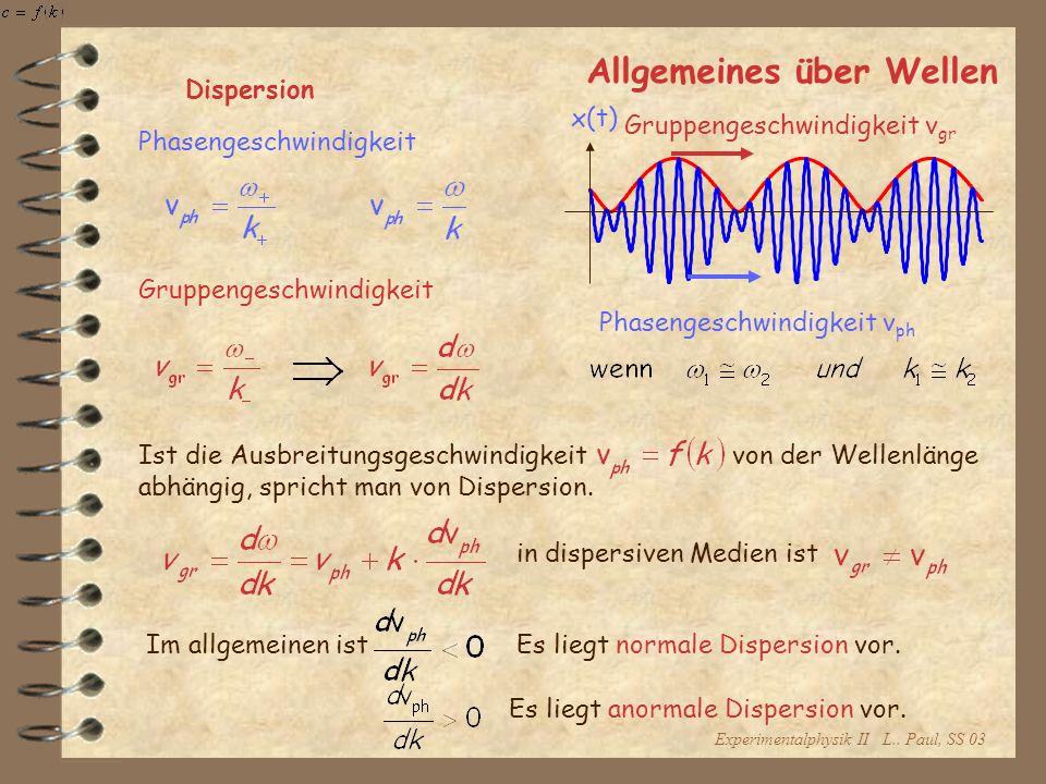 Experimentalphysik II L.. Paul, SS 03 Allgemeines über Wellen Dispersion x(t) Gruppengeschwindigkeit v gr Phasengeschwindigkeit v ph Gruppengeschwindi