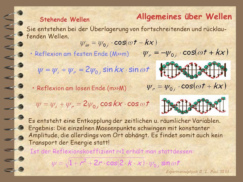 Experimentalphysik II L.. Paul, SS 03 Allgemeines über Wellen Stehende Wellen Sie entstehen bei der Überlagerung von fortschreitenden und rücklau- fen