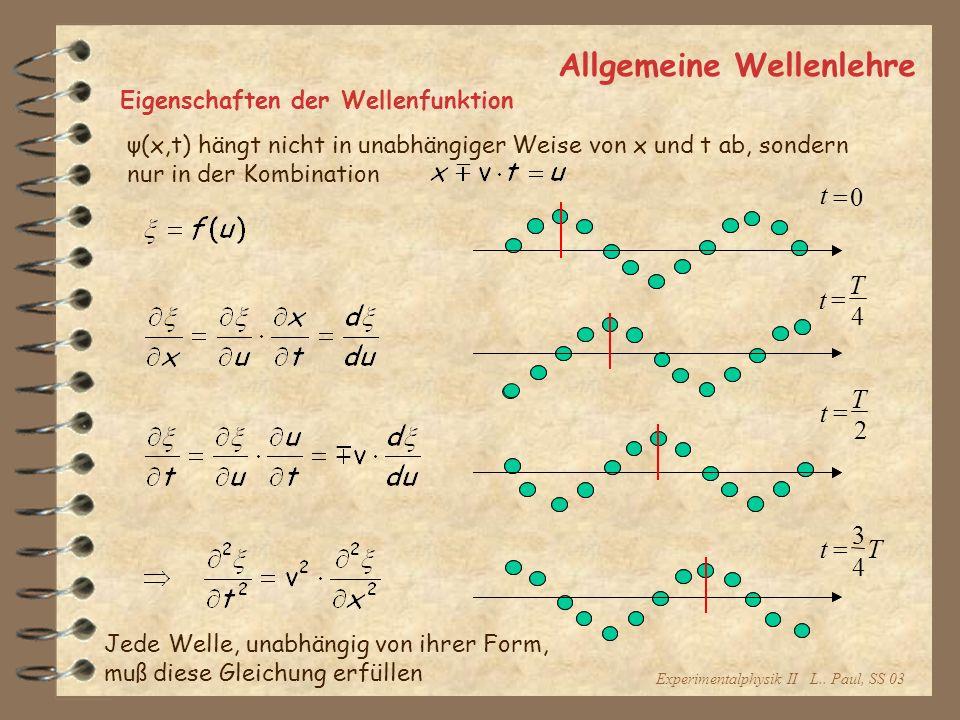 Experimentalphysik II L.. Paul, SS 03 Allgemeine Wellenlehre Eigenschaften der Wellenfunktion ψ(x,t) hängt nicht in unabhängiger Weise von x und t ab,