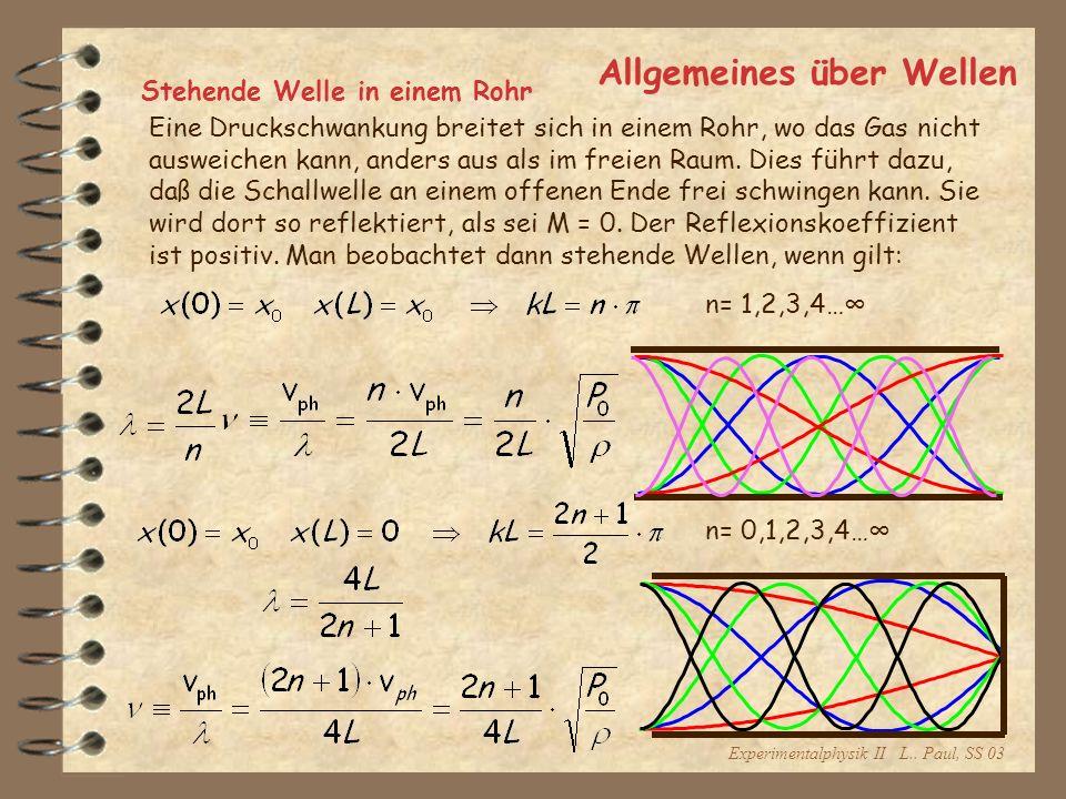 Experimentalphysik II L.. Paul, SS 03 Allgemeines über Wellen Stehende Welle in einem Rohr Eine Druckschwankung breitet sich in einem Rohr, wo das Gas