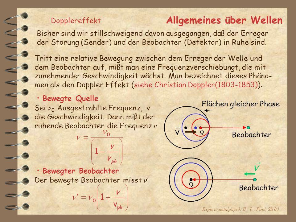 Experimentalphysik II L.. Paul, SS 03 Allgemeines über Wellen Dopplereffekt Tritt eine relative Bewegung zwischen dem Erreger der Welle und dem Beobac