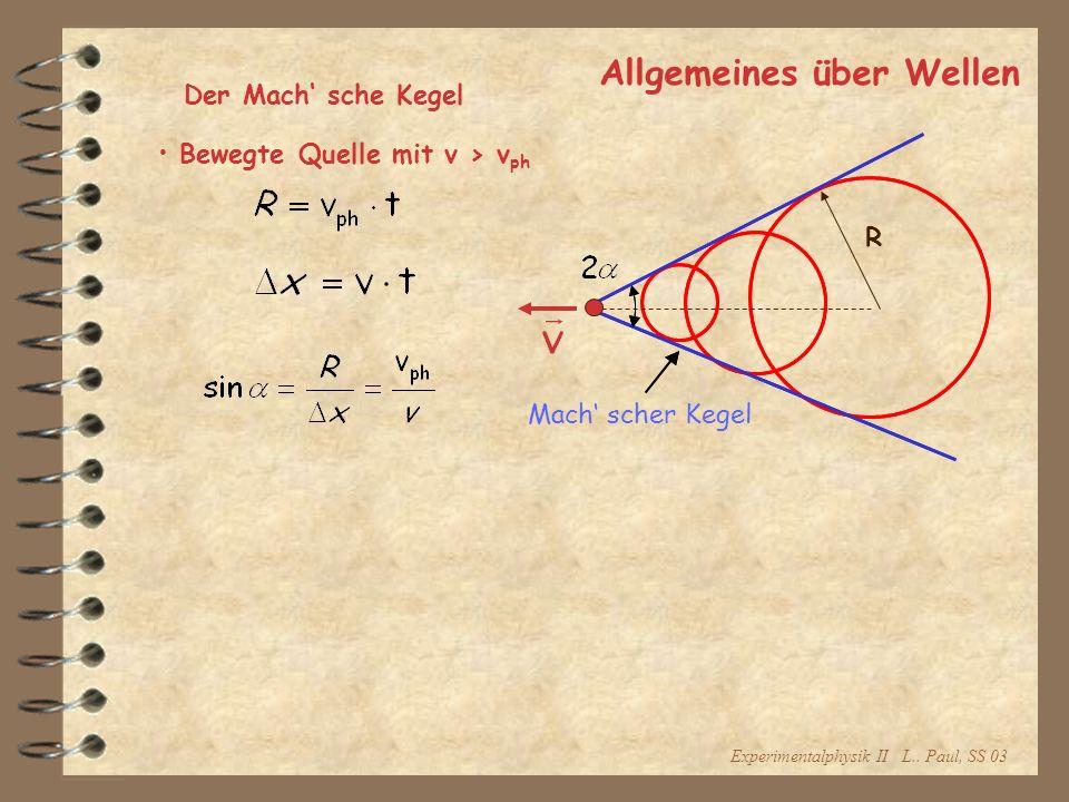 Experimentalphysik II L.. Paul, SS 03 Allgemeines über Wellen Der Mach sche Kegel Bewegte Quelle mit v > v ph Mach scher Kegel R