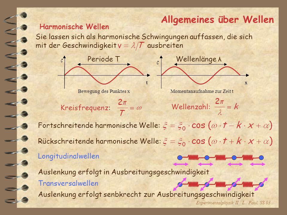 Experimentalphysik II L.. Paul, SS 03 Allgemeines über Wellen Harmonische Wellen Sie lassen sich als harmonische Schwingungen auffassen, die sich mit