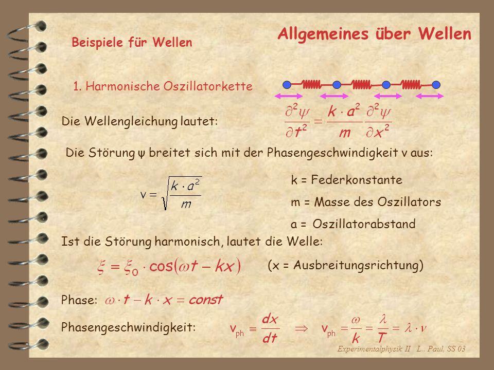 Experimentalphysik II L.. Paul, SS 03 Allgemeines über Wellen Beispiele für Wellen 1. Harmonische Oszillatorkette Die Wellengleichung lautet: Die Stör