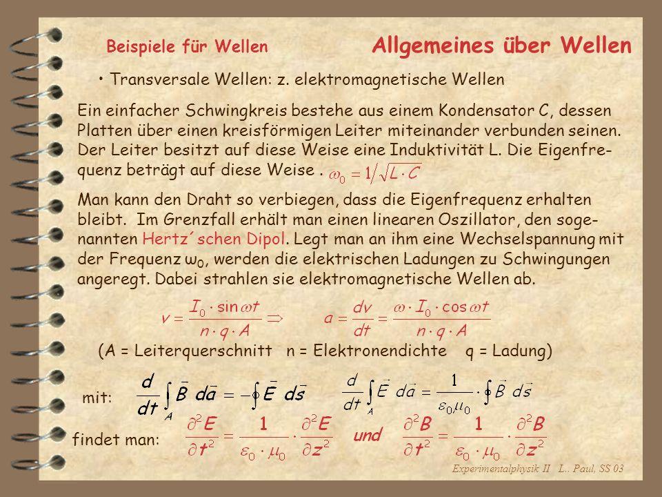 Experimentalphysik II L.. Paul, SS 03 Allgemeines über Wellen Beispiele für Wellen Transversale Wellen: z. elektromagnetische Wellen Ein einfacher Sch