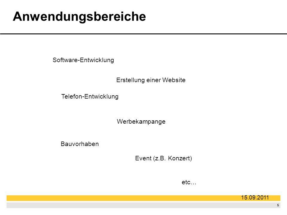 5 15.09.2011 Anwendungsbereiche Software-Entwicklung Telefon-Entwicklung Bauvorhaben Werbekampange Erstellung einer Website Event (z.B.