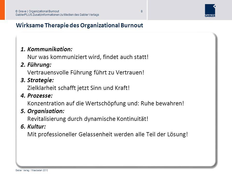 © Greve | Organizational Burnout GablerPLUS Zusatzinformationen zu Medien des Gabler Verlags 8 Gabler Verlag | Wiesbaden 2010 8 1.Kommunikation: Nur w