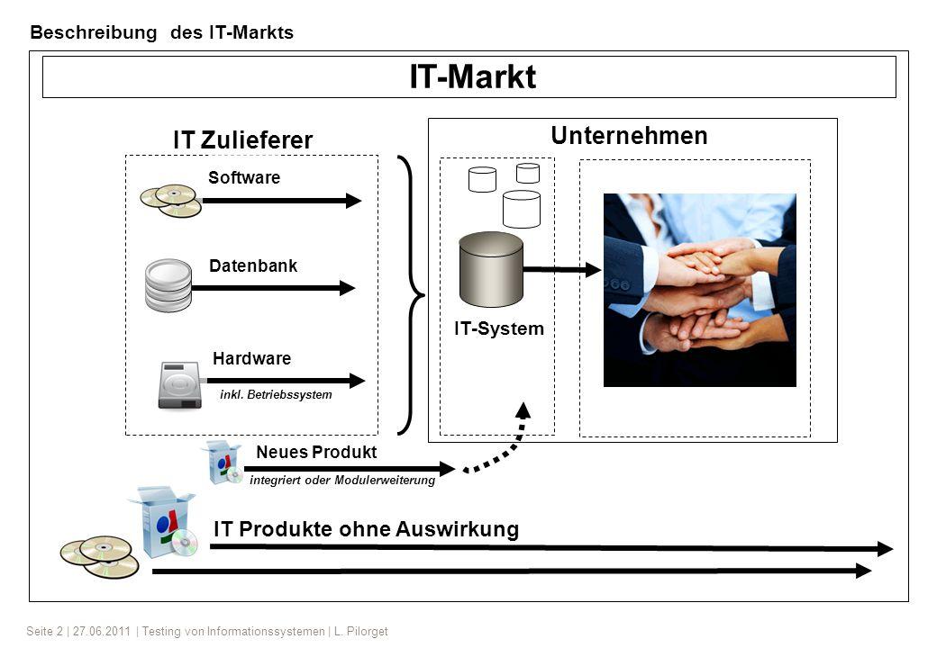 Seite 2 | 27.06.2011 | Testing von Informationssystemen | L. Pilorget Software Hardware Datenbank inkl. Betriebssystem IT-Markt IT Produkte ohne Auswi