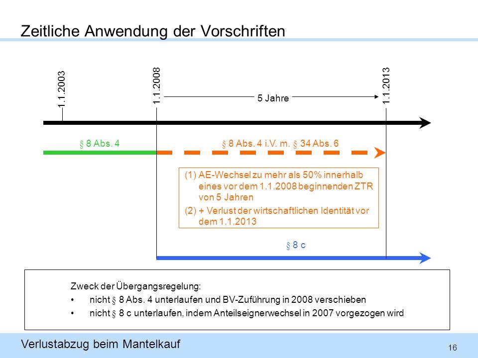 16 Verlustabzug beim Mantelkauf Zeitliche Anwendung der Vorschriften 1.1.2003 (1)AE-Wechsel zu mehr als 50% innerhalb eines vor dem 1.1.2008 beginnenden ZTR von 5 Jahren (2)+ Verlust der wirtschaftlichen Identität vor dem 1.1.2013 1.1.20081.1.2013 § 8 Abs.