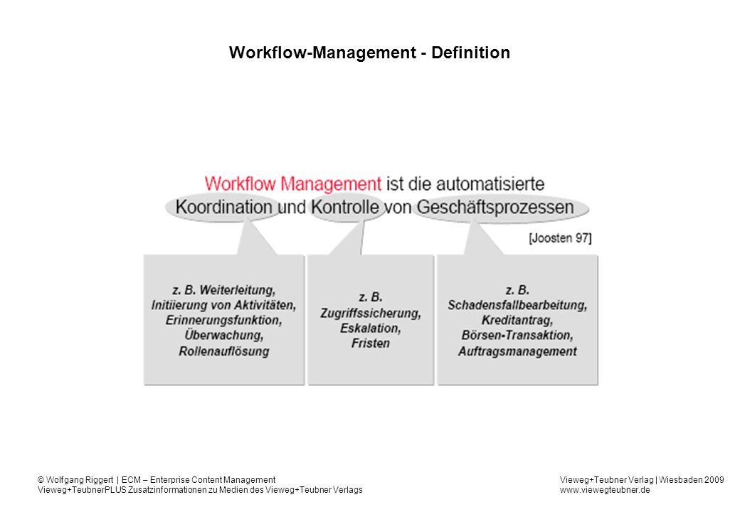 Vieweg+Teubner Verlag   Wiesbaden 2009 www.viewegteubner.de © Wolfgang Riggert   ECM – Enterprise Content Management Vieweg+TeubnerPLUS Zusatzinformationen zu Medien des Vieweg+Teubner Verlags Workflow-Management-System Ein Workflow-Management-System ist ein Anwendungssystem, mit dessen Hilfe Workflows definiert, verwaltet und ausgeführt werden können.