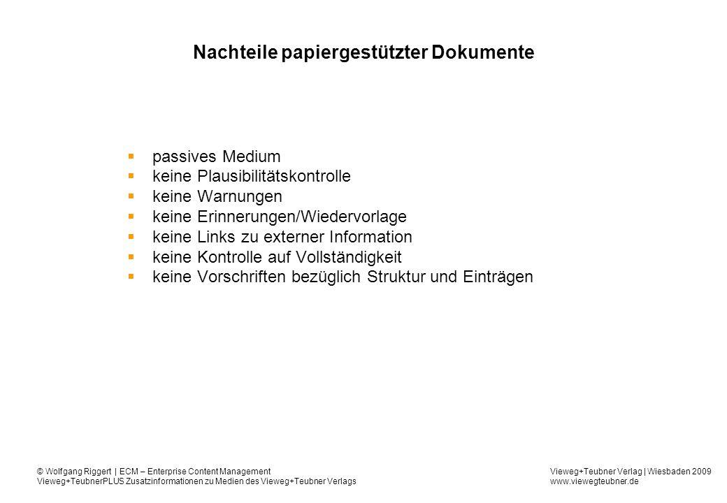 Vieweg+Teubner Verlag | Wiesbaden 2009 www.viewegteubner.de © Wolfgang Riggert | ECM – Enterprise Content Management Vieweg+TeubnerPLUS Zusatzinformationen zu Medien des Vieweg+Teubner Verlags Nutzendefizite Zeitverschwendung im Dokumentenmanagement ohne Rechnerunterstützung : –Dokumente sind schwer zu verteilen –Dokumente zu veröffentlichen ist aufwändig –Dokumente sind schwer zu finden –Dokumentenerstellung ist ein Ad-Hoc-Vorgang –Papierbasierte Archivierung ist teuer und ineffizient
