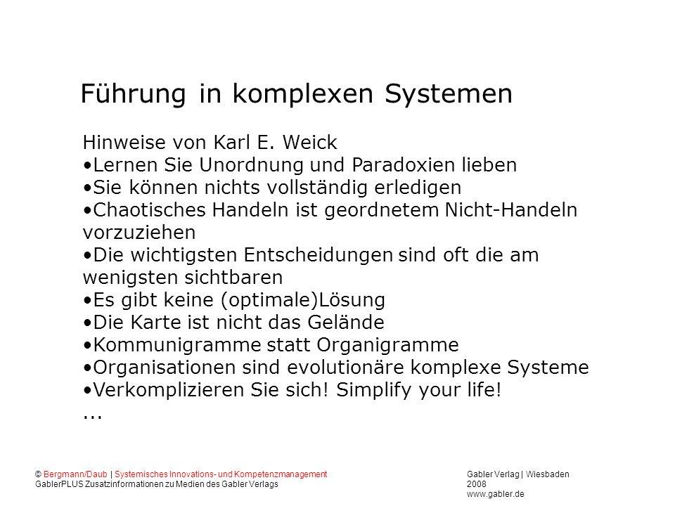 Gabler Verlag | Wiesbaden 2008 www.gabler.de © Bergmann/Daub | Systemisches Innovations- und Kompetenzmanagement GablerPLUS Zusatzinformationen zu Medien des Gabler Verlags Führung in komplexen Systemen Hinweise von Karl E.