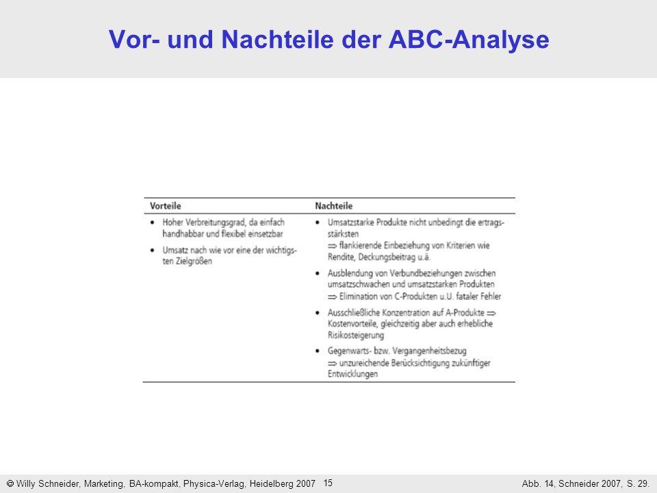 15 Vor- und Nachteile der ABC-Analyse Willy Schneider, Marketing, BA-kompakt, Physica-Verlag, Heidelberg 2007 Abb. 14, Schneider 2007, S. 29.