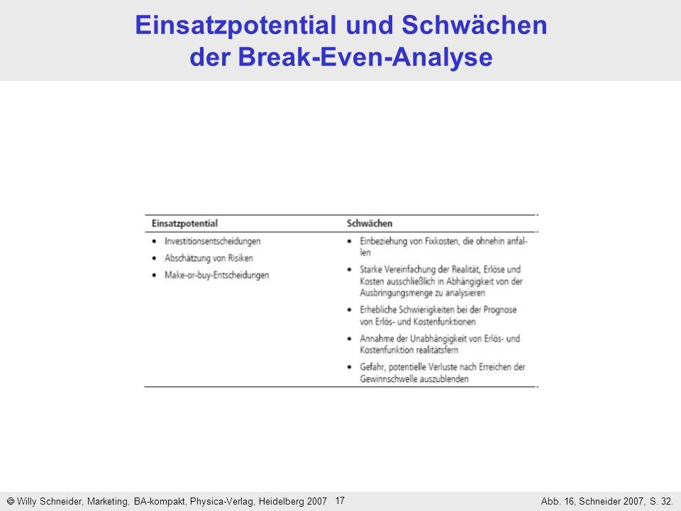 17 Einsatzpotential und Schwächen der Break-Even-Analyse Willy Schneider, Marketing, BA-kompakt, Physica-Verlag, Heidelberg 2007 Abb. 16, Schneider 20