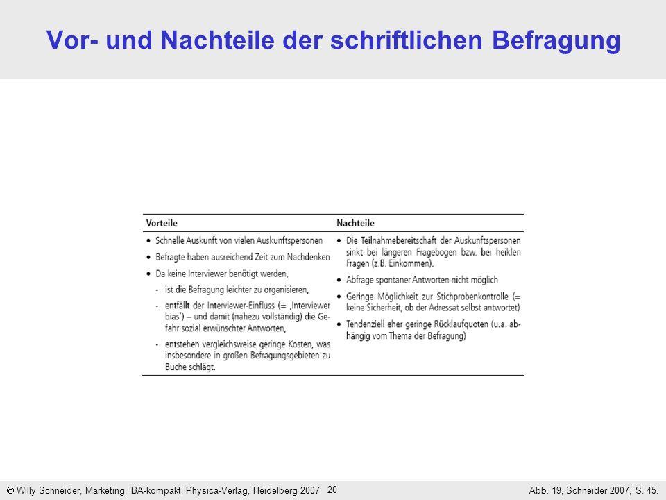 20 Vor- und Nachteile der schriftlichen Befragung Willy Schneider, Marketing, BA-kompakt, Physica-Verlag, Heidelberg 2007 Abb. 19, Schneider 2007, S.