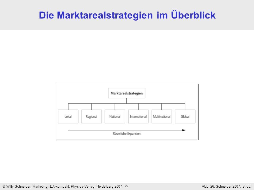 27 Die Marktarealstrategien im Überblick Willy Schneider, Marketing, BA-kompakt, Physica-Verlag, Heidelberg 2007 Abb. 26, Schneider 2007, S. 65.