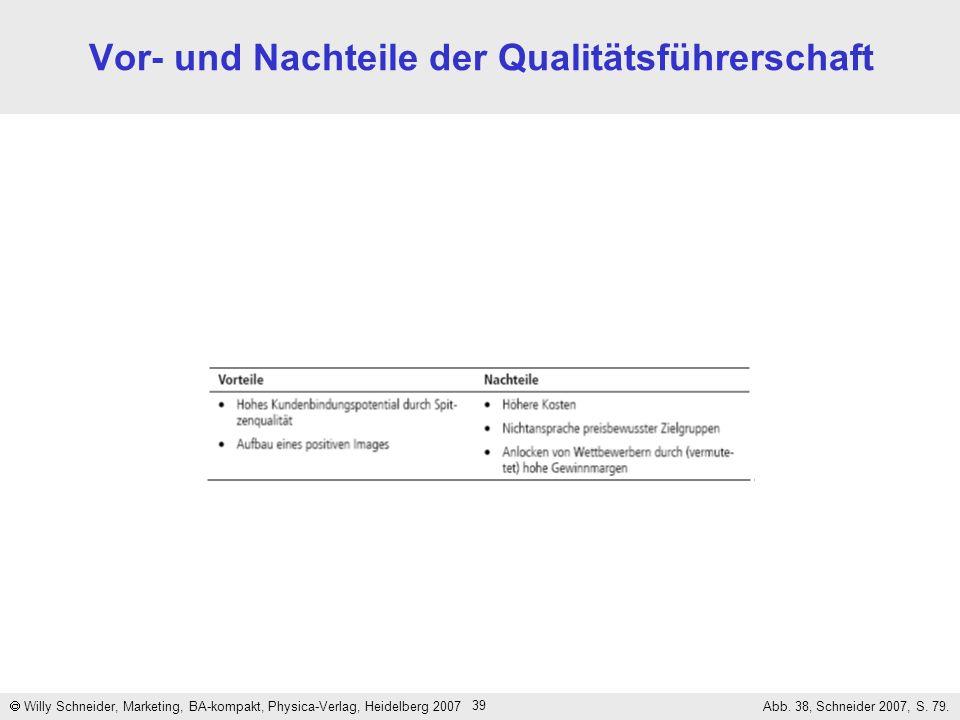 39 Vor- und Nachteile der Qualitätsführerschaft Willy Schneider, Marketing, BA-kompakt, Physica-Verlag, Heidelberg 2007 Abb. 38, Schneider 2007, S. 79