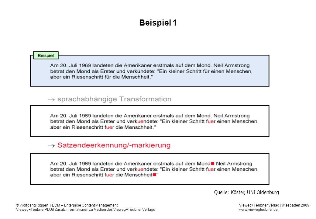 Vieweg+Teubner Verlag | Wiesbaden 2009 www.viewegteubner.de © Wolfgang Riggert | ECM – Enterprise Content Management Vieweg+TeubnerPLUS Zusatzinformationen zu Medien des Vieweg+Teubner Verlags Beispiel 1 Quelle: Köster, UNI Oldenburg