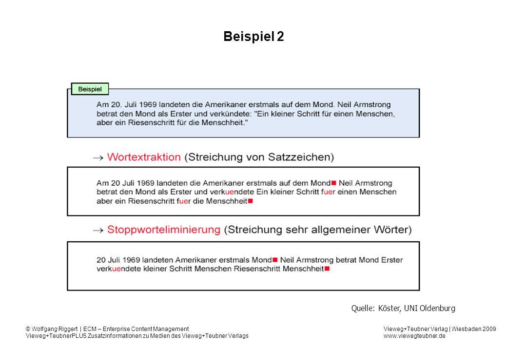 Vieweg+Teubner Verlag | Wiesbaden 2009 www.viewegteubner.de © Wolfgang Riggert | ECM – Enterprise Content Management Vieweg+TeubnerPLUS Zusatzinformationen zu Medien des Vieweg+Teubner Verlags Beispiel 2 Quelle: Köster, UNI Oldenburg