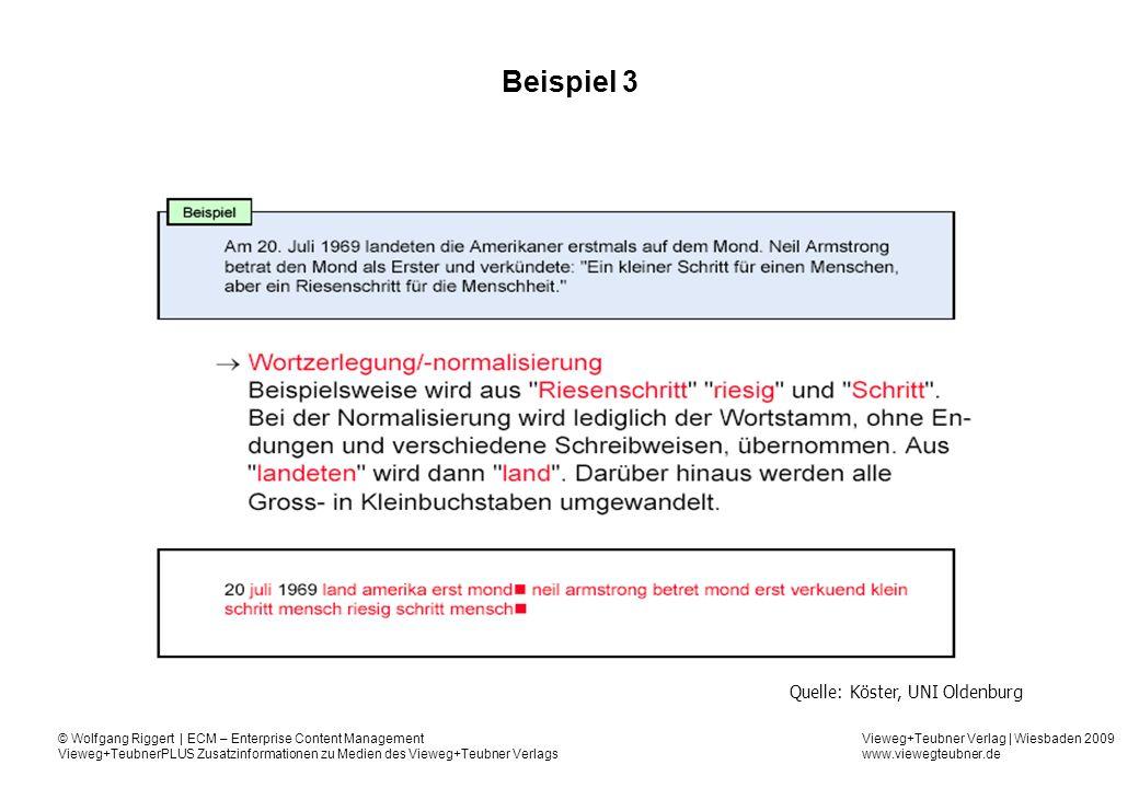 Vieweg+Teubner Verlag | Wiesbaden 2009 www.viewegteubner.de © Wolfgang Riggert | ECM – Enterprise Content Management Vieweg+TeubnerPLUS Zusatzinformationen zu Medien des Vieweg+Teubner Verlags Beispiel 3 Quelle: Köster, UNI Oldenburg