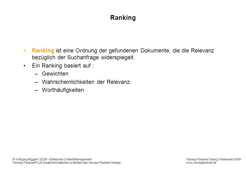Vieweg+Teubner Verlag | Wiesbaden 2009 www.viewegteubner.de © Wolfgang Riggert | ECM – Enterprise Content Management Vieweg+TeubnerPLUS Zusatzinformationen zu Medien des Vieweg+Teubner Verlags Ranking Ranking ist eine Ordnung der gefundenen Dokumente, die die Relevanz bezüglich der Suchanfrage widerspiegelt.