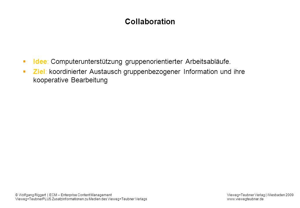 Vieweg+Teubner Verlag | Wiesbaden 2009 www.viewegteubner.de © Wolfgang Riggert | ECM – Enterprise Content Management Vieweg+TeubnerPLUS Zusatzinformationen zu Medien des Vieweg+Teubner Verlags Collaboration Idee: Computerunterstützung gruppenorientierter Arbeitsabläufe.