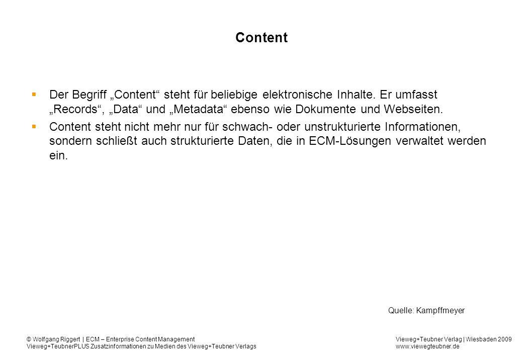Vieweg+Teubner Verlag | Wiesbaden 2009 www.viewegteubner.de © Wolfgang Riggert | ECM – Enterprise Content Management Vieweg+TeubnerPLUS Zusatzinformationen zu Medien des Vieweg+Teubner Verlags Content Der Begriff Content steht für beliebige elektronische Inhalte.