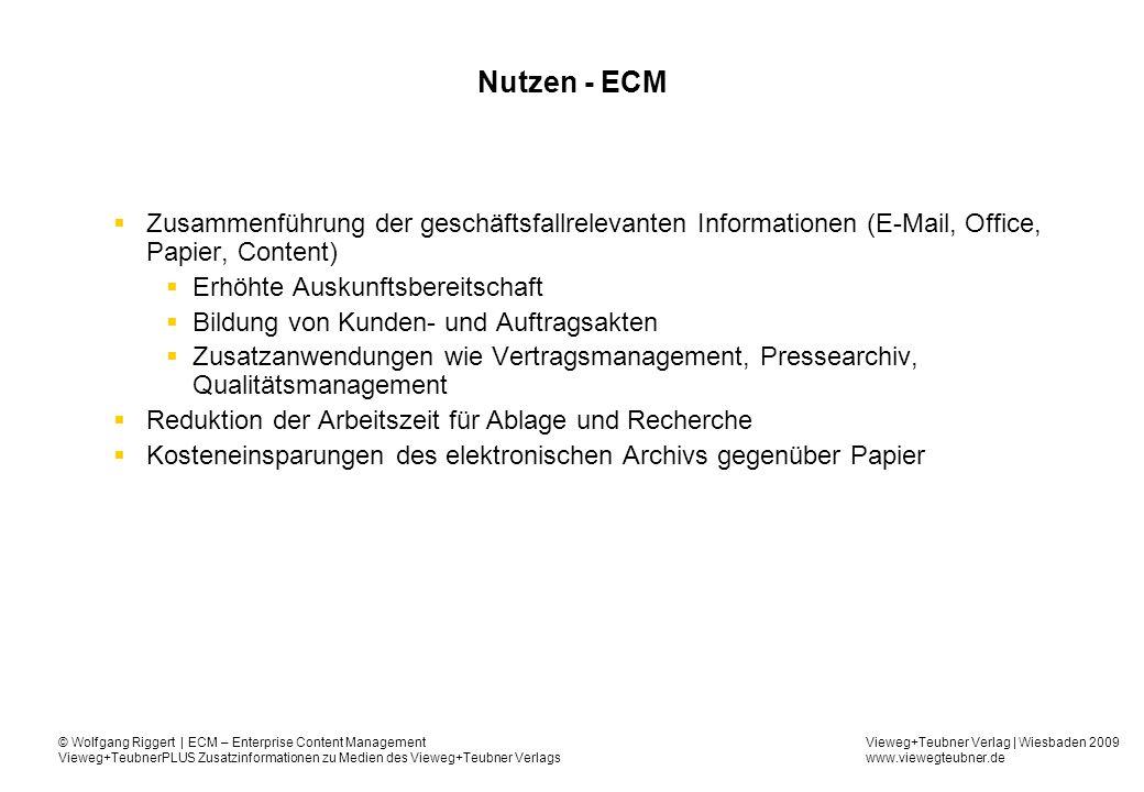 Vieweg+Teubner Verlag | Wiesbaden 2009 www.viewegteubner.de © Wolfgang Riggert | ECM – Enterprise Content Management Vieweg+TeubnerPLUS Zusatzinformationen zu Medien des Vieweg+Teubner Verlags Nutzen – ECM cont.