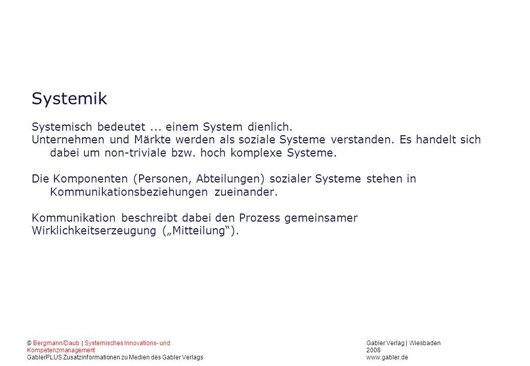 Gabler Verlag | Wiesbaden 2008 www.gabler.de © Bergmann/Daub | Systemisches Innovations- und Kompetenzmanagement GablerPLUS Zusatzinformationen zu Medien des Gabler Verlags Systemik Systemisch bedeutet...