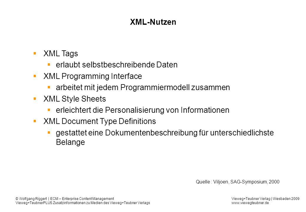 Vieweg+Teubner Verlag | Wiesbaden 2009 www.viewegteubner.de © Wolfgang Riggert | ECM – Enterprise Content Management Vieweg+TeubnerPLUS Zusatzinformationen zu Medien des Vieweg+Teubner Verlags XML-Nutzen XML Tags erlaubt selbstbeschreibende Daten XML Programming Interface arbeitet mit jedem Programmiermodell zusammen XML Style Sheets erleichtert die Personalisierung von Informationen XML Document Type Definitions gestattet eine Dokumentenbeschreibung für unterschiedlichste Belange Quelle : Viljoen, SAG-Symposium, 2000